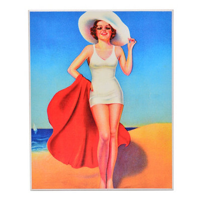 Beach Beauty Pin Up I Wall Plaque
