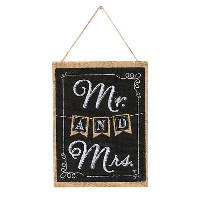 Mr. and Mrs. Burlap Wall Plaque