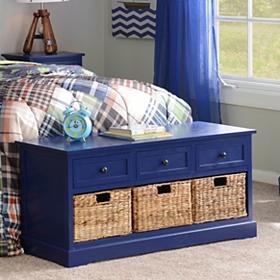 Cobalt Blue 6-Drawer Kids Storage Bench