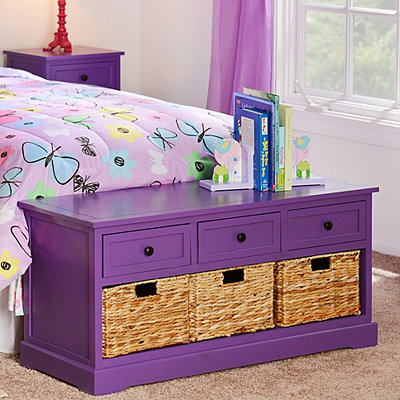 Purple 6-Drawer Kids Storage Bench