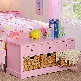 Pink 6-Drawer Kids Storage Bench