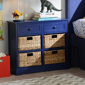 Cobalt Blue 6-Drawer Kids Storage Chest