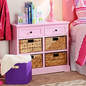 Pink 6-Drawer Kids Storage Chest