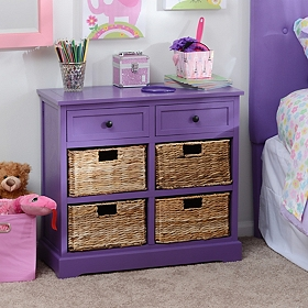 Purple 6-Drawer Kids Storage Chest