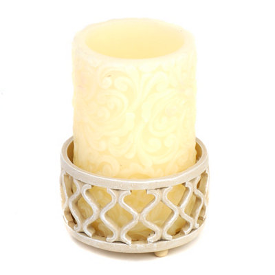 White Lattice Jar Candle Holder