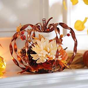 Orange Metallic Twist Pumpkin Arrangement