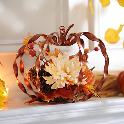 Orange Metallic Twist Pumpkin Arrangement
