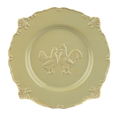 Green Rooster Dinner Plate