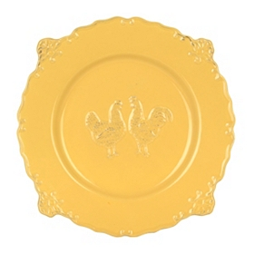 Yellow Rooster Dinner Plate