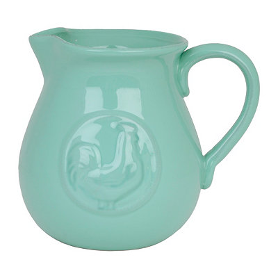 Aqua Ceramic Rooster Pitcher