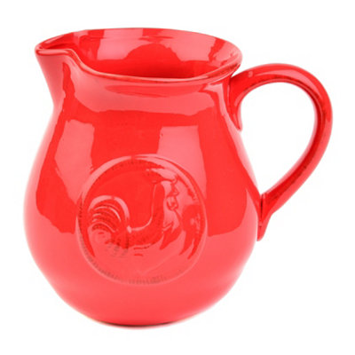 Red Ceramic Rooster Pitcher