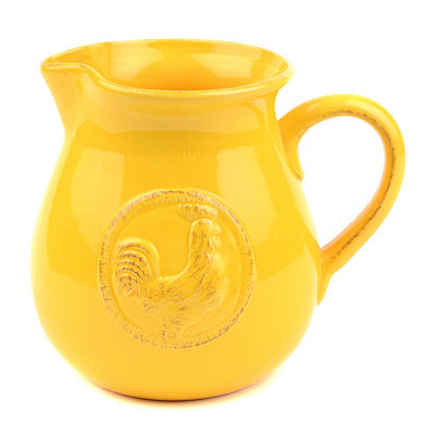 Yellow Ceramic Rooster Pitcher