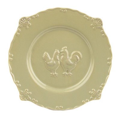 Green Rooster Salad Plate