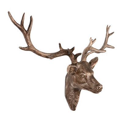 Bronze Deer Head Plaque