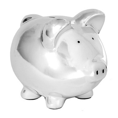 Chrome Ceramic Piggy Bank