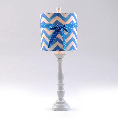 Blue Chevron Bow Buffet Lamp