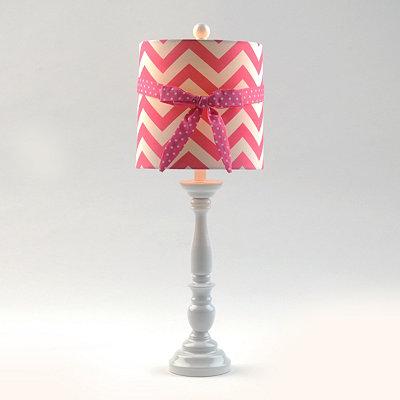 Pink Chevron Bow Buffet Lamp