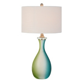 Blue and Green Glass Table Lamp