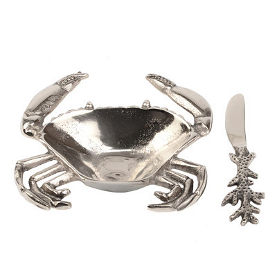 Metal Crab Dip Bowl and Spreader, 2-pc. Set