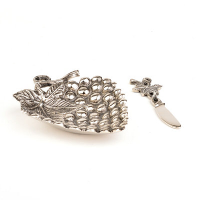 Metal Grapes Dip Bowl and Spreader, 2-pc. Set