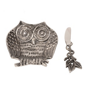 Metal Owl Dip Bowl and Spreader, 2-pc. Set