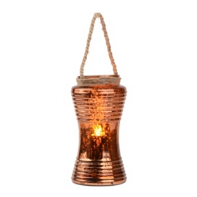 Ribbed Bronze Mercury Glass Lantern