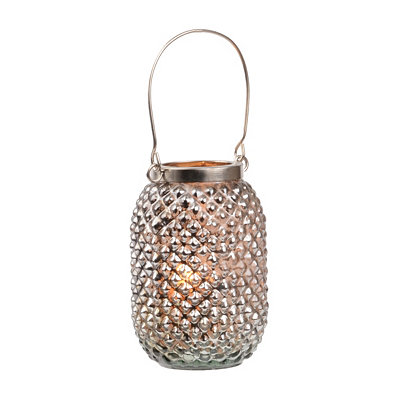 Silver Pineapple Glass Lantern
