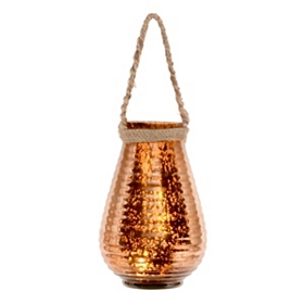 Ribbed Copper Mercury Glass Lantern