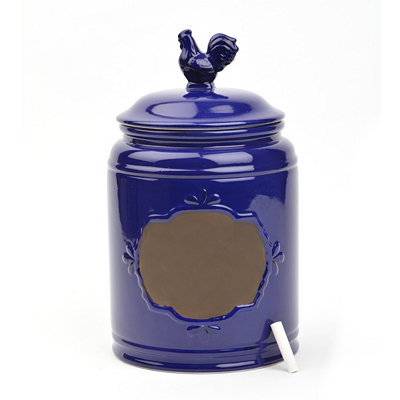 Large Cobalt Rooster Canister