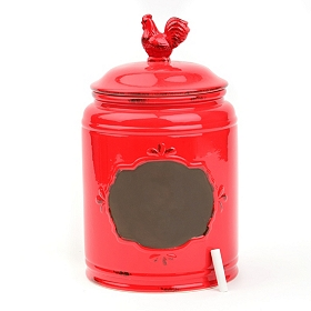 Large Red Rooster Canister