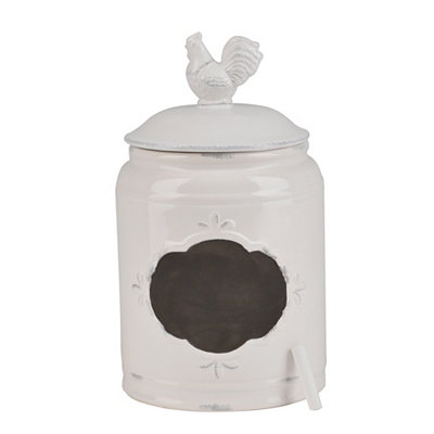 Medium White Rooster Canister