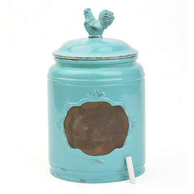 Small Aqua Rooster Canister