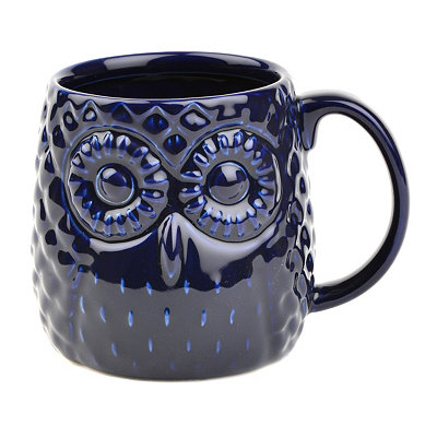 Blue Embossed Ceramic Owl Mug