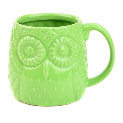 Green Embossed Ceramic Owl Mug