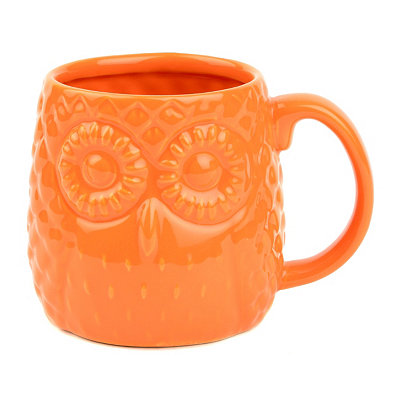 Orange Embossed Ceramic Owl Mug