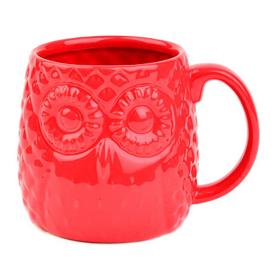 Red Embossed Ceramic Owl Mug