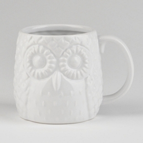 White Embossed Ceramic Owl Mug