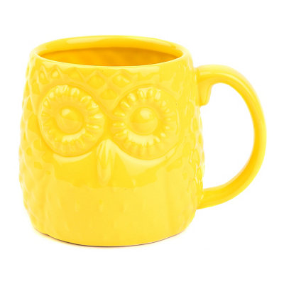 Yellow Embossed Ceramic Owl Mug