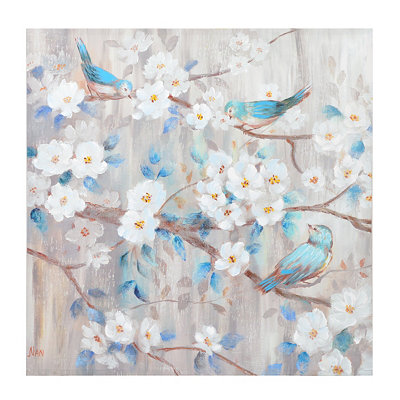Bluebirds & Blooms Canvas Art Print