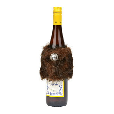 Faux Fur Wine Bottle Wrap