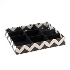 Black Chevron 9-Section Jewelry Tray