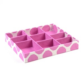 Pink Polka Dot 9-Section Jewelry Tray