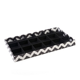 Black Chevron 18-Section Jewelry Tray