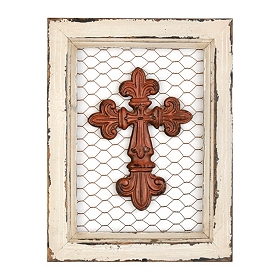 Ornate Red Cross on Chicken Wire Frame