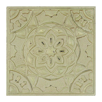 Distressed Green Flower Medallion Tile