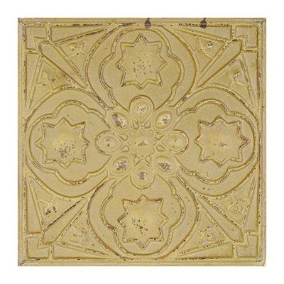 Distressed Yellow Quatrefoil Medallion Tile