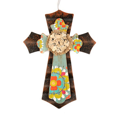 Tan Burlap Flower Cross