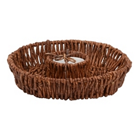 Woven Round Chip and Dip Serving Bowl