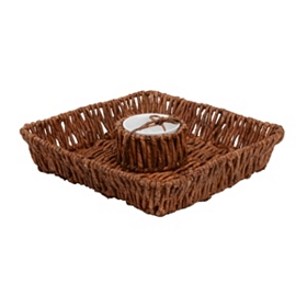 Woven Square Chip and Dip Serving Bowl
