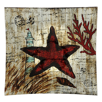 Starfish Painted Glass Charger
